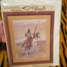 """Vintage BUCILLA Cross Stitch """"The Scout"""" by CM Russell (Indian on Horse)"""