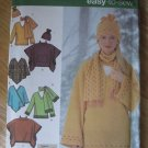 SIMPLICITY 4782 - UNCUT Easy to Sew pattern misses pullover top, ponchos, scarf & hat. Sizes L,XL