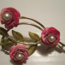 Vintage Three Pink Roses Pin ~ Antique Rose