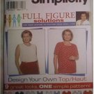 Simplicity 7034 Full Figure Pullover Top Pattern Square Round or V-Neck Uncut Size 18W-24W