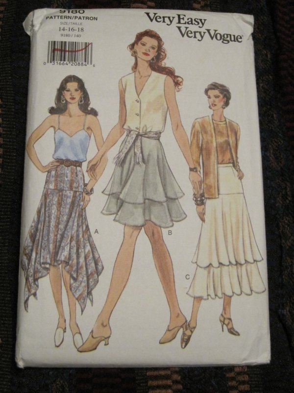 Handkerchief Hem Skirt Or Tiered Skirt Pattern Vogue 9180