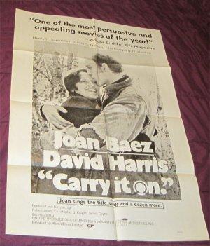 Joan Baez Original Vintage Folded Movie Poster CARRY IT ON