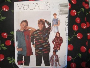 McCall's Pattern 7127 Boys and Girls Hooded Top (Hoodies) Sizes 10 12 14