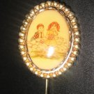 "Vintage ""New Love"" Adorable Sweet Boy Smitten w/ Girl Stick Pin"