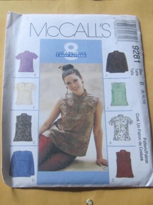 Asian Style Tops With Or Without Sleeves Sewing Pattern Mccalls 9281