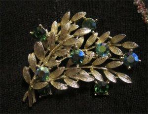 1960s Lisner Blue Rhinestone Spray Brooch Aurora Borealis Gold Tone Leaf Sprigs