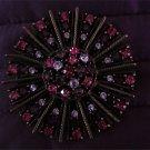Vintage Signed Graziano Pink,purple, Rhinestone Brooch