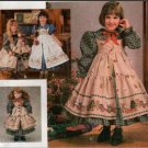 "Simplicity Daisy Kingdom Childs Dress & pinafore w/18"" Doll Dress Pattern 9706"
