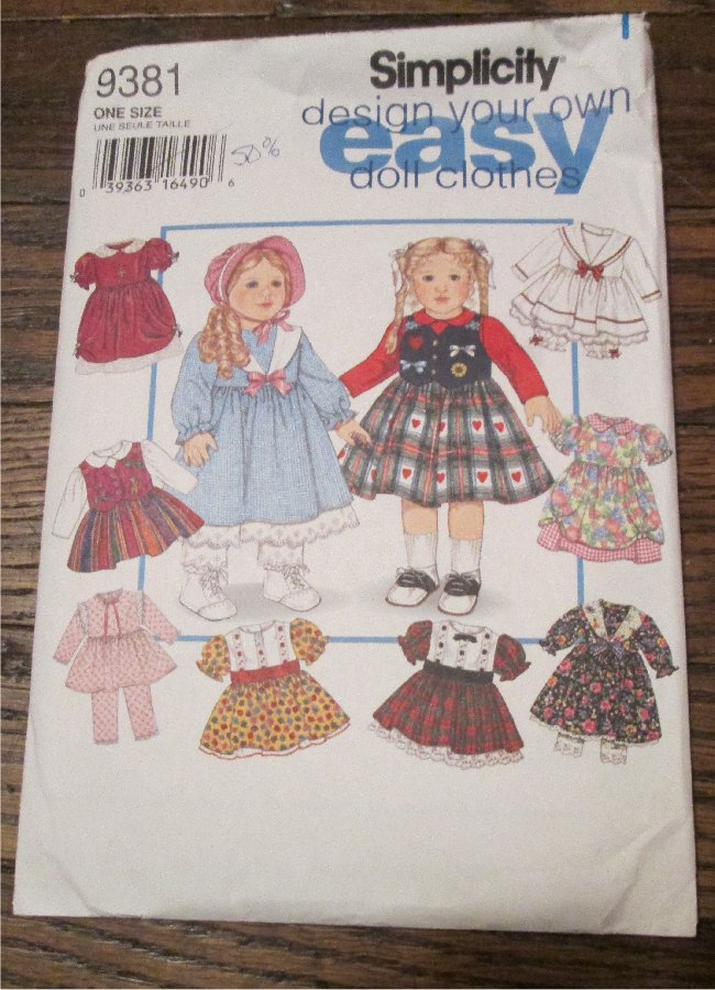 """Simplicity 9381 Pattern UNCUT to make 18"""" Clothes Design Your Own American Girl Easy Doll Clothes"""