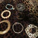 9 Multi Color Texture Bracelet Lot Magnetic,Silver Tone,Stretch