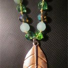 Cookie Lee Spring Leaves Gold Tone Glass Beaded Necklace
