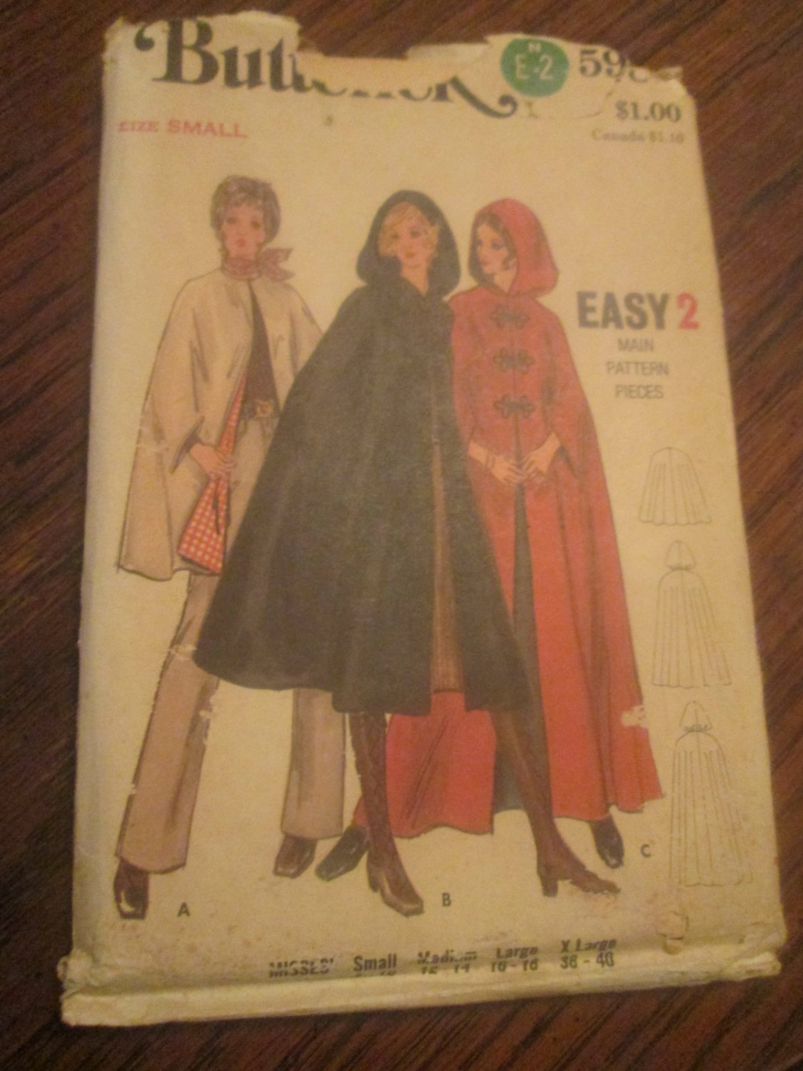 Vintage Butterick 70s Pattern 5987 Misses Amp Womens Cape