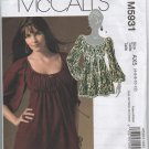 McCalls Pattern # 5931 UNCUT Misses Top Empire Waist Size 4,6,8,10,12 FREE SHIPPING