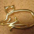 Vintage OPEN CAT PIN Brooch With Rhinestone Collar Signed Ali FREE SHIPPING