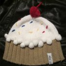 Womens NEFF Vanilla White Cupcake Cherry Pom Pom Knit Beanie Hat ONE SIZE
