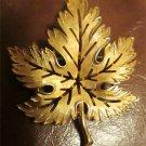 Trifari Maple Leaf Pin Vintage Costume Fashion Gold Plated Fall Autumn Brooch FREE SHIPPING