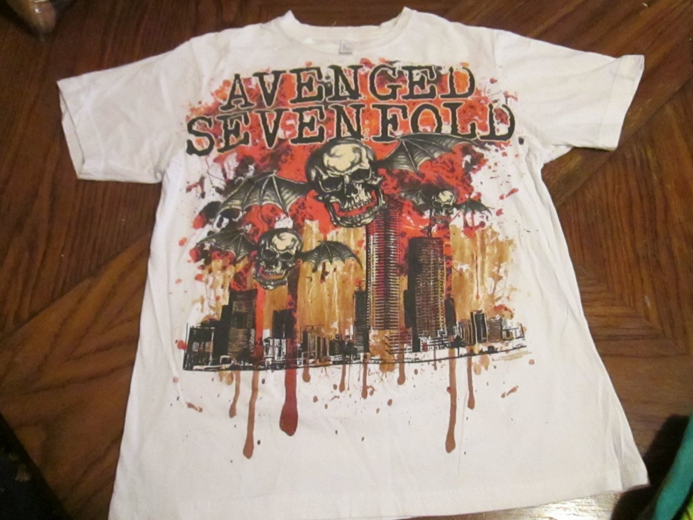 Avenged Sevenfold Bloody Skulls W/ Wings Logo Band T-Shirt FREE SHIPPING