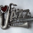 Vintage Signed Danecraft Silver pewter I Love Jazz Brooch/Pin FREE SHIPPING