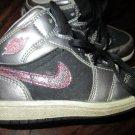 Girls Toddler Size 9C Silver Black w/Pink Glitter Nike Air Jordan