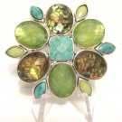 Beautiful Vintage Signed Liz Claiborne Rhinestone Brooch Pin Abalone Colors FREE SHIPPING