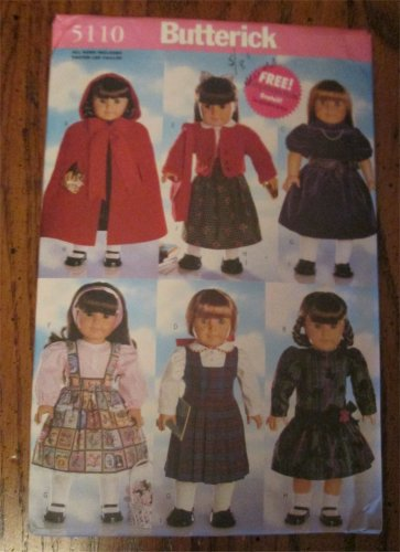 """Uncut Butterick 5110 Doll Clothes Pattern for 18"""" Size Girl Dolls"""