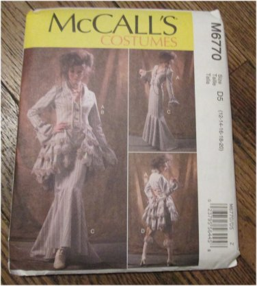 McCall's Pattern M6770 Women's Costume 12-20 Steampunk Jacket Skirt Bustle 6770 FREE SHIPPING
