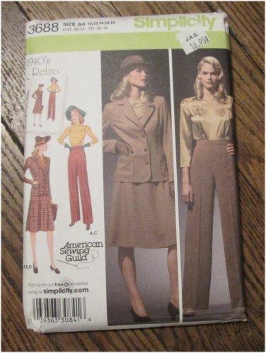 Simplicity Pattern 3688 1940's Retro Blouse, Skirt, Pants,Jacket Sizes 10-12-14-16-18 FREE SHIPPING