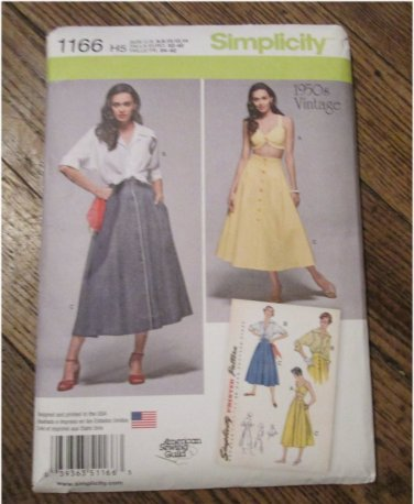 Simplicity Pattern 1166 Misses' Vintage 1950s Blouse, Skirt and Bra Top FREE SHIPPING