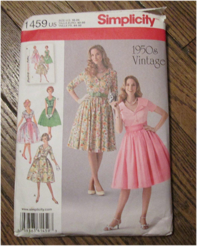 Simplicity 1950 S Vintage Retro Pattern 1459 Misses Dress
