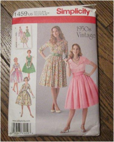Simplicity 1950's Vintage Retro Pattern 1459 Misses Dress and Cummerbund Sizes 16-24 FREE SHIPPING