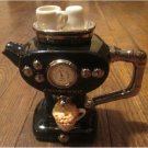 Swineside The Teapottery ESPRESSO Ceramic TEAPOT Black. Retired and Rare FREE SHIPPING