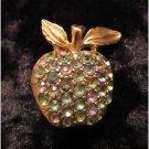 Vintage silver starrs apple lavender &  light blue rhinestones gold tone brooch FREE SHIPPING