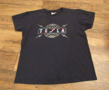 TESLA  Vintage Band Shirt Double Sided Ladies Size Small 100% Cotton FREE SHIPPING