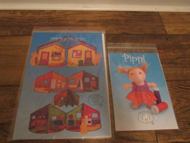 Quilted Doll House -Fold Out -Open Up and Pippi Doll Pattern FREE SHIPPING