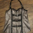 OH Yes Chrome Black Metal Studded Belted Halter Sexy Glam Rock FREE SHIPPING