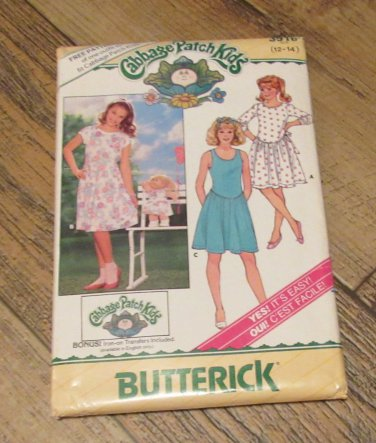 Butterick 3916 Cabbage Patch Girl's Dress & Doll Dresspattern sz 12-14 new