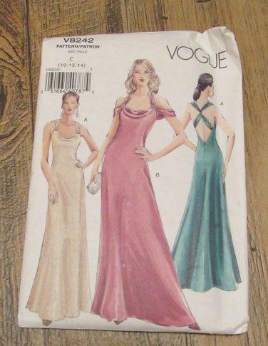 Vogue Pattern V8242-Bias Cut Dress-Sexy V neckline-Cowl Drape-Floor Length FREE SHIPPING