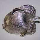 Vintage Sarah Coventry Brooch Pin Brushed Silver Apple Peach Fruit FREE SHIPPING