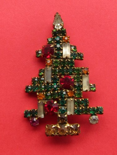Classic Vintage WEISS Six Candle Christmas Tree Brooch Pin FREE SHIPPING