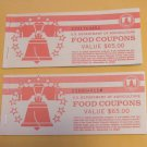 USDA Incomplete Food Coupons Real Vintage Food Stamps Series 1995 E33176985K E35804611M