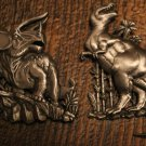 2 Awesome Pewter Dinosaur Pins By JJ