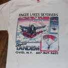 Finger Lakes Skydivers Skydive Tandem 1991 Vintage Shirt Men's Small FREE SHIPPINGl