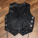Black Leather Fringe Concho Braided Rocker Biker Chic 80s Vintage Vest Hot Leathers FREE SHIPPING
