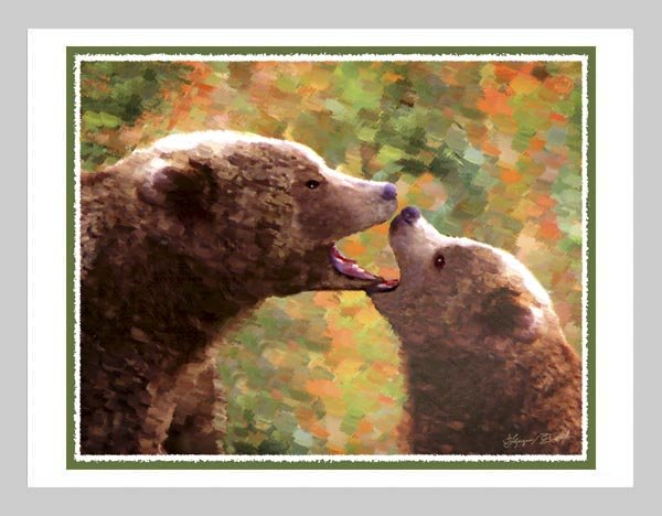 6 Grizzly Bear Mother and Cub Note or Greeting Cards