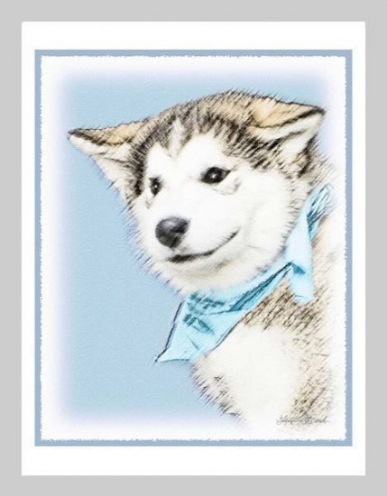 6 Siberian Husky Puppy Note or Greeting Cards
