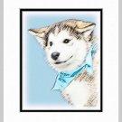 Siberian Husky Puppy Dog Art Print Matted 11x14
