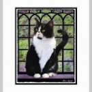 Tuxedo Cat by Window Art Print Matted 11x14