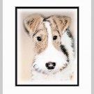Wire Hair Fox Terrier Dog Art Print Matted 11x14