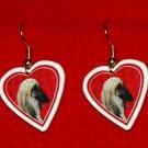 Afghan Hound Heart Jewelry Earrings Handmade