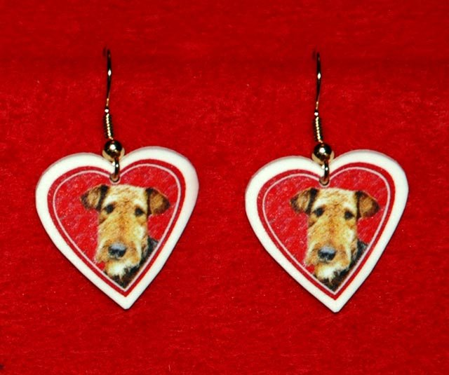 Airedale Terrier Dog Heart Earrings Jewelry Handmade